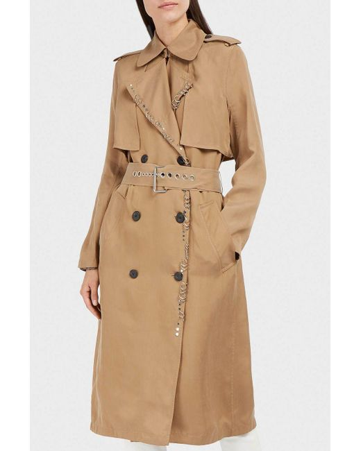 Alexander Wang | Natural Embellished Satin-twill Trench Coat | Lyst