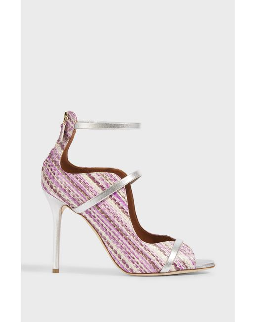 Malone Souliers - Pink Mika Metallic Leather-trimmed Elaphe Sandals - Lyst