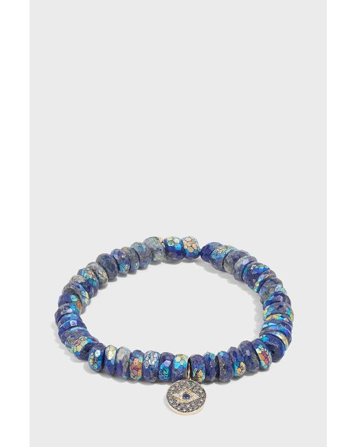 Sydney Evan - Blue Evil Eye Medallion Charm Bracelet - Lyst