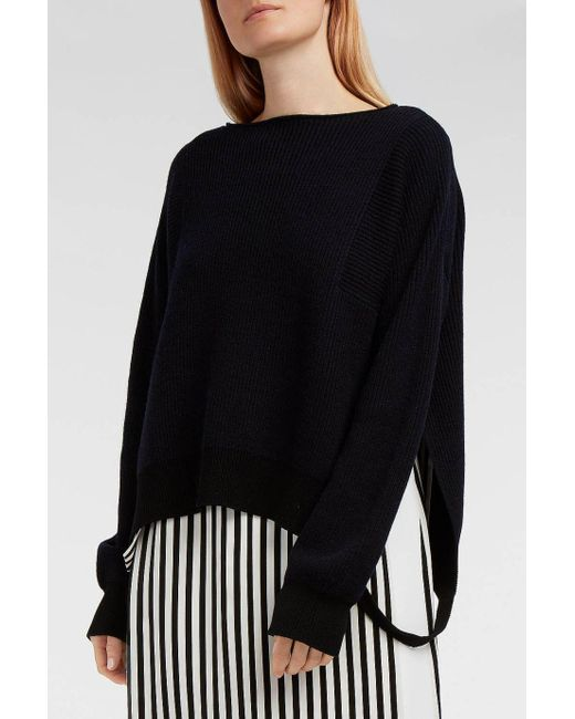 Helmut Lang | Black Ribbed Cotton, Wool And Cashmere-blend Jumper | Lyst