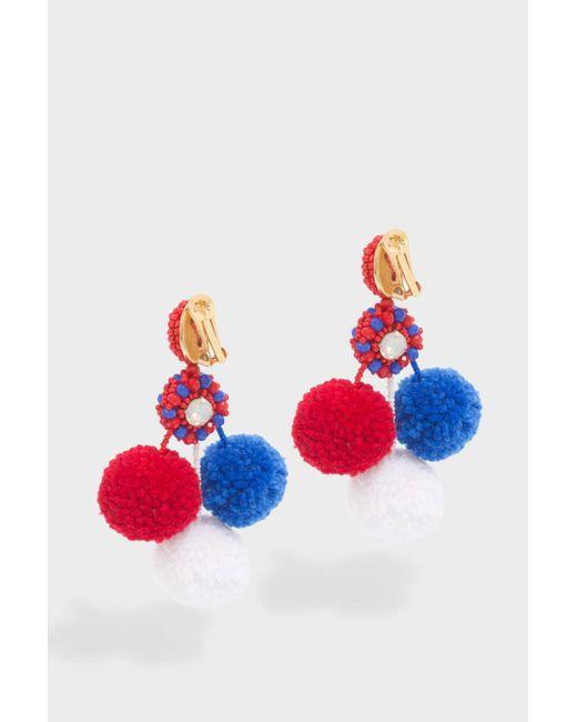 Oscar de la Renta   Red Triple Pompom Earrings   Lyst