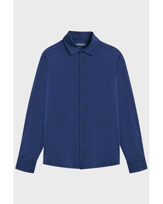 Frescobol Carioca - Blue Full-placket Jersey Shirt for Men - Lyst