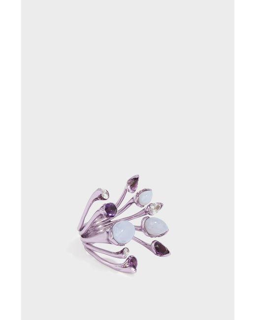 Fernando Jorge - Multicolor Calyx Lilac-coated 18-karat Gold Diamond, Amethyst And Chalcedony Ring - Lyst