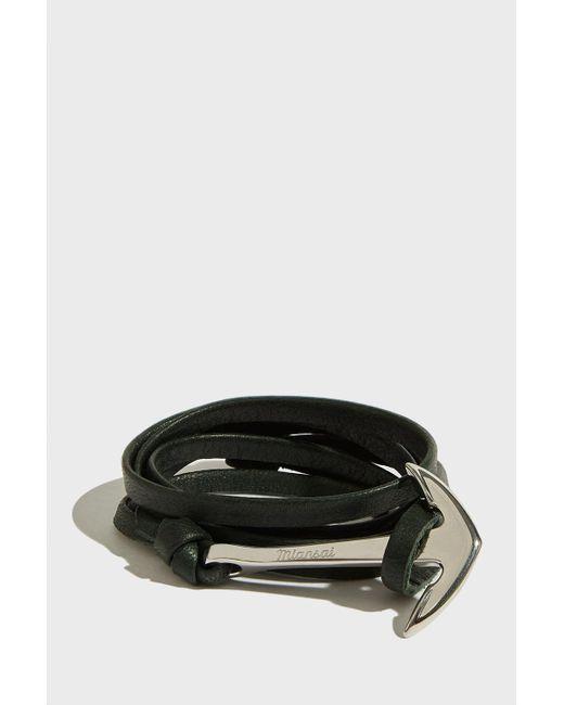 Miansai - Black Anchor On Leather Bracelet, Size Os, Men, Green for Men - Lyst