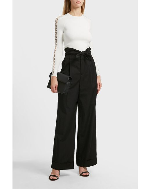 Alexander Wang - Black Cotton-poplin Wide-leg Trousers - Lyst