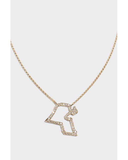 TIBA - Metallic Kuwait Map Outline Necklace, Size Os, Women, Y Gold - Lyst