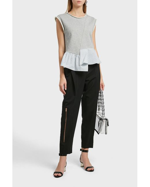 3.1 Phillip Lim - Black Terry Ruffled Hem Cotton Top - Lyst