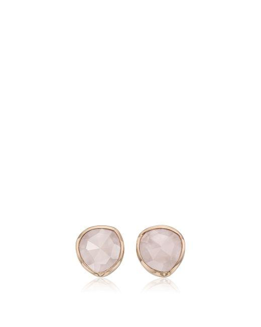 Monica Vinader - Pink Rp Siren Stud Earrings - Rose Quartz, Os - Lyst