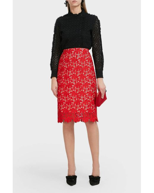 Paul & Joe - Red Floral Lace Skirt - Lyst