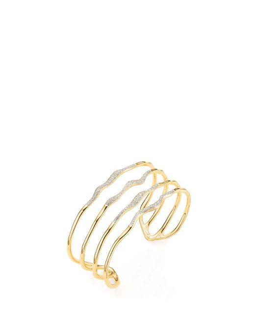 Monica Vinader - Riva Diamond Wave Cuff, Size Os, Women, Metallic - Lyst