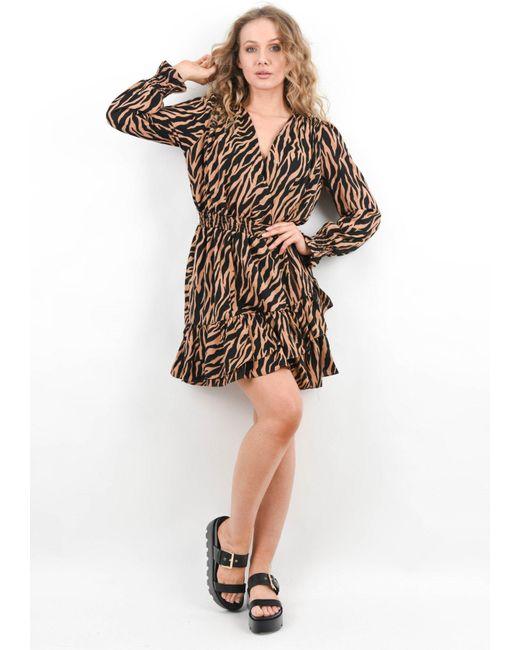 Boutique Store Natural Animal Print Smock Dress
