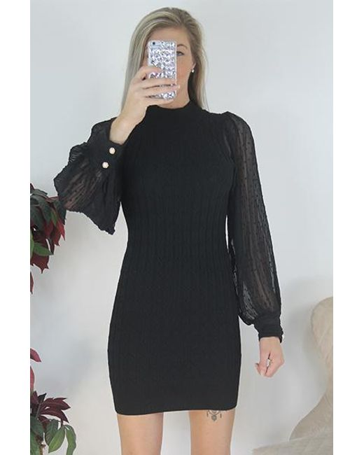 Boutique Store Black Puff Sleeve Ribbed Knitted Dress