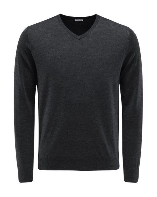 von Braun Feinstrick V-Neck Pullover in Black für Herren