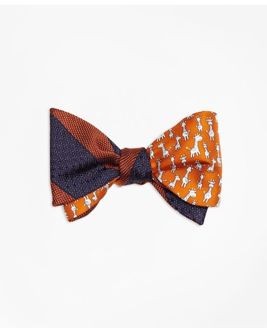 Brooks Brothers - Orange Framed Textured Stripe With Giraffe Print Reversible Bow Tie for Men - Lyst