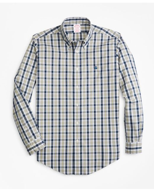 Brooks Brothers - Blue Non-iron Madison Fit Brushed Plaid Sport Shirt for Men - Lyst