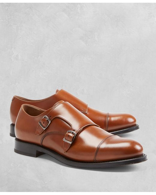 Brooks Brothers Brown Golden Fleece Double Monk Straps for men