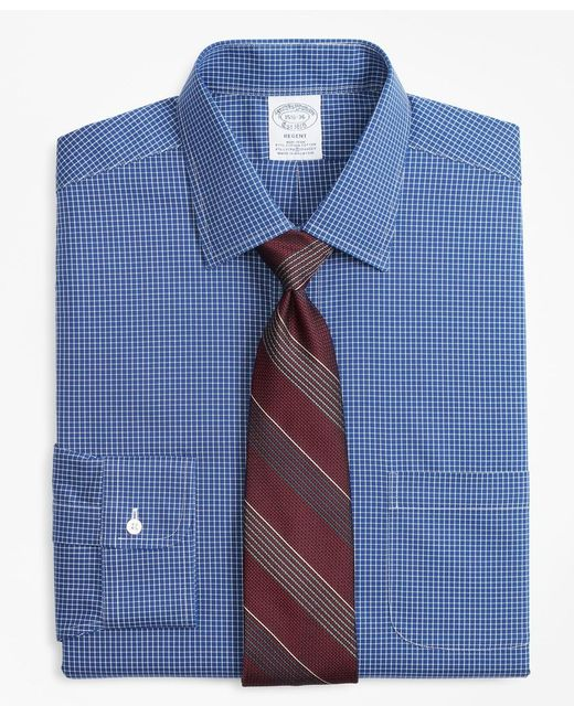 Brooks Brothers Blue Stretch Slim Fitted Dress Shirt for men