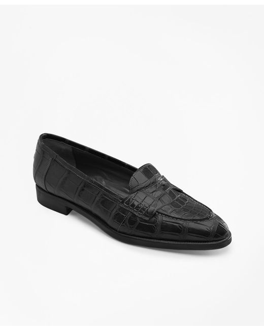 Brooks Brothers | Black Alligator Loafers | Lyst