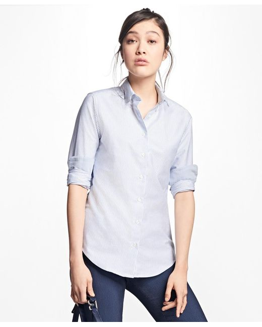 Brooks Brothers - Blue Classic-fit Supima® Cotton Oxford Stripe Forward-point Shirt - Lyst