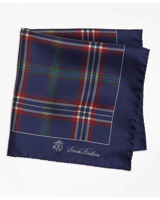 Brooks Brothers | Blue Signature Tartan Pocket Square for Men | Lyst