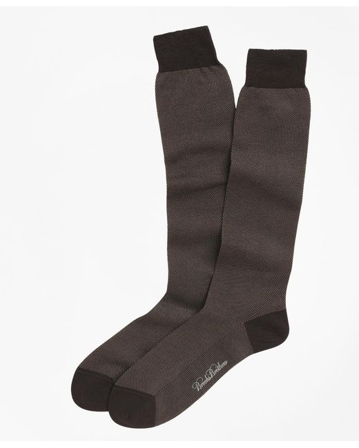 Brooks Brothers Brown Cotton Bird's-eye Over-the-calf Socks for men