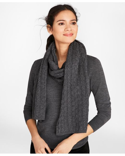 Brooks Brothers - Gray Cable-knit Merino Wool Scarf - Lyst