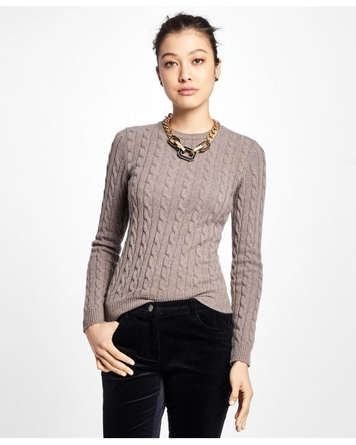 Brooks Brothers - Black Cashmere Cable Crewneck Sweater - Lyst