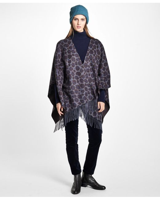 Brooks Brothers - Blue Double-faced Animal-print Cashmere Ruana - Lyst
