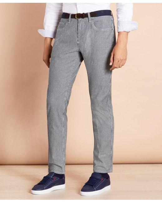 Brooks Brothers Blue Striped Indigo Lightweight Jeans for men