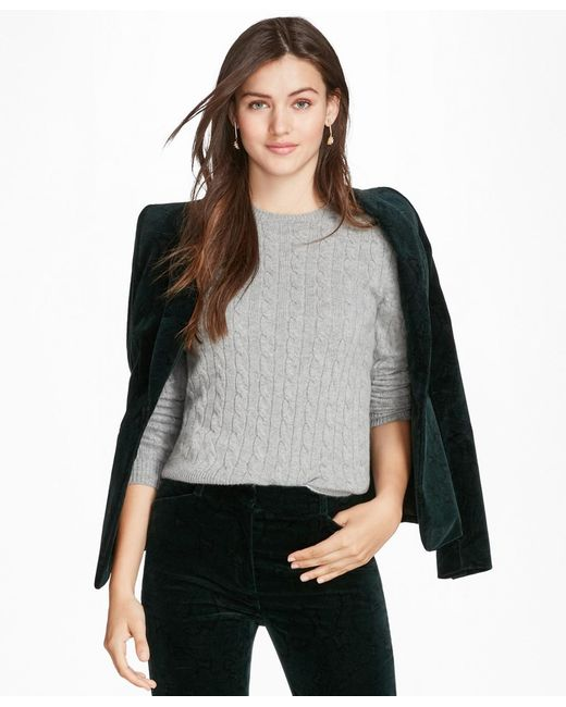 Brooks Brothers - Gray Cashmere Cable Crewneck Sweater - Lyst