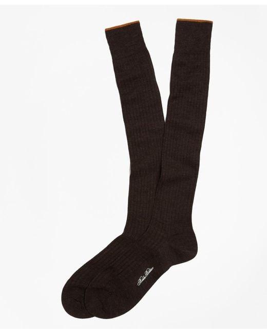 Brooks Brothers | Brown Merino Wool Golden Fleece® Sized Over-the-calf Socks for Men | Lyst