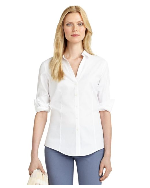 Brooks Brothers White Non-iron Fitted Dress Shirt