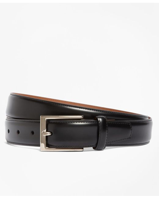 Brooks Brothers - Black Silver Buckle Leather Dress Belt for Men - Lyst