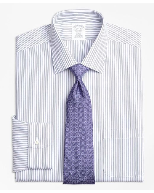 Brooks Brothers Purple Non-iron Madison Fit Alternating Double Stripe Dress Shirt for men