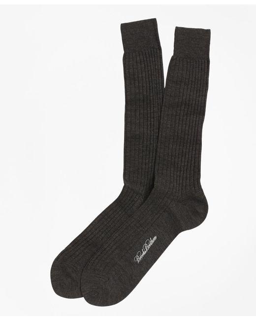 Brooks Brothers | Brown Merino Wool Ribbed Crew Socks for Men | Lyst
