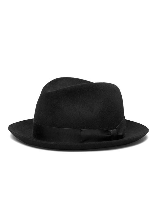 Brooks Brothers - Black Tonal Ribbon Fedora for Men - Lyst