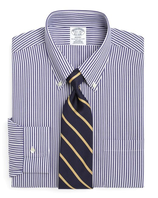 Brooks Brothers - Blue Non-iron Regent Fit Bengal Stripe Dress Shirt for Men - Lyst