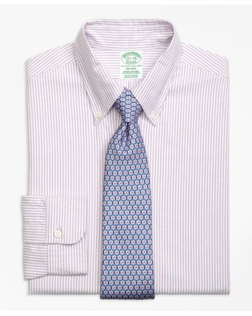 Brooks Brothers - Purple Milano Fit Original Polo® Button-down Oxford Bengal Stripe Dress Shirt for Men - Lyst