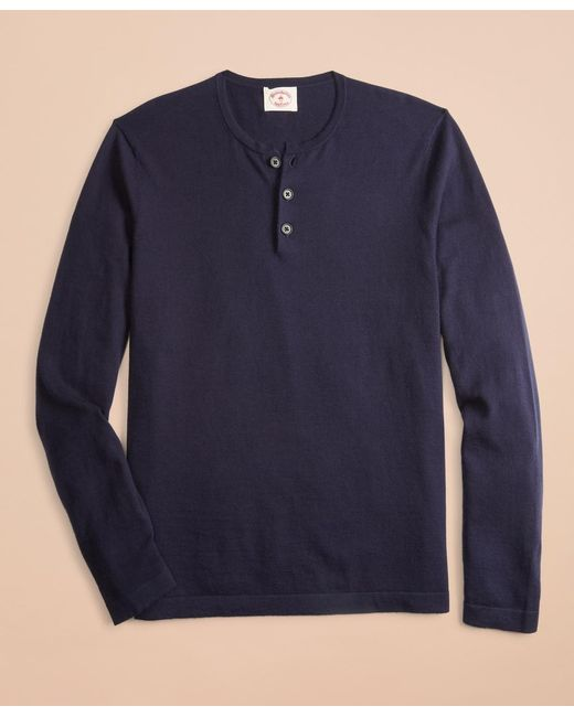 Brooks Brothers Blue Cotton-cashmere Henley for men