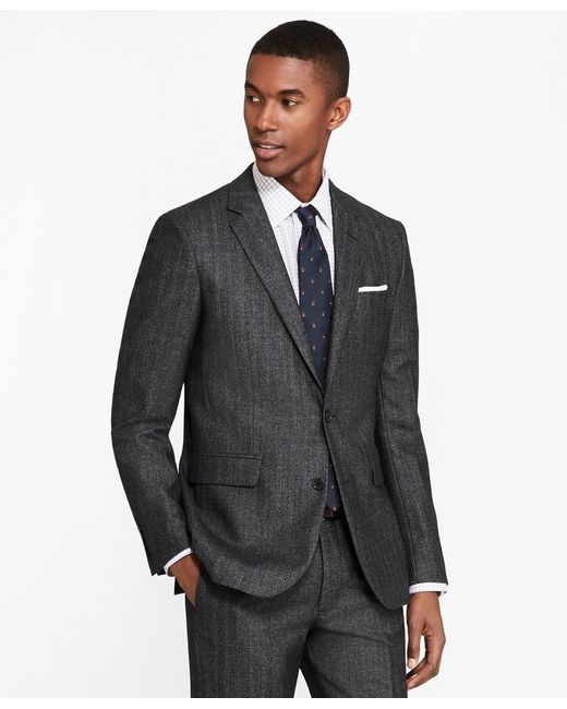 Brooks Brothers Black Extra Slim Fit Herringbone 1818 Suit for men