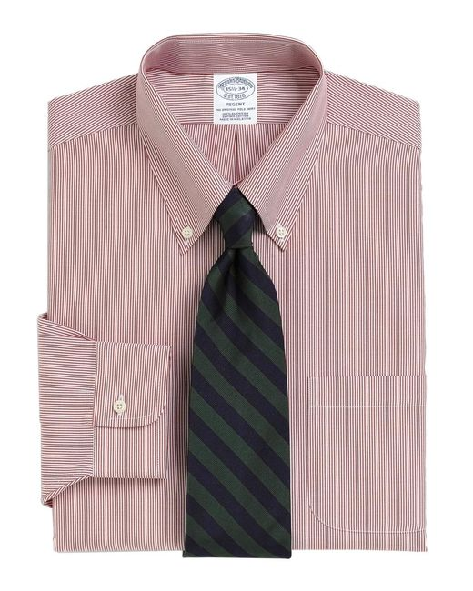 Brooks Brothers Red Madison Fit Stripe Dress Shirt for men