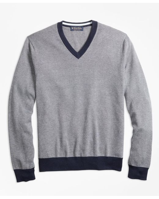 Brooks Brothers - Gray Supima® Cotton Thin Stripe V-neck Sweater for Men - Lyst