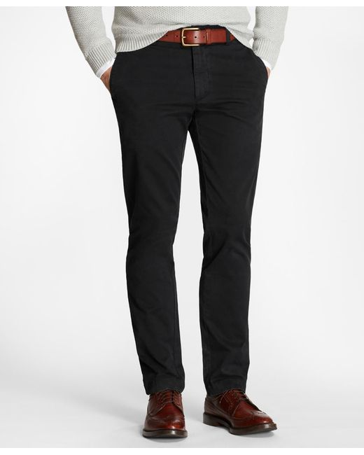 Brooks Brothers - Black Garment-dyed Stretch Chinos for Men - Lyst