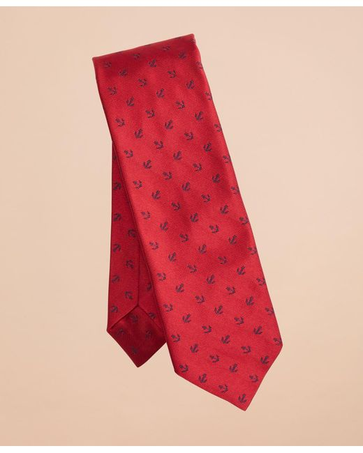 Brooks Brothers - Red Anchor Print Silk Tie for Men - Lyst