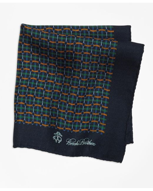 Brooks Brothers - Green Plaid Links And Duck Pocket Square for Men - Lyst