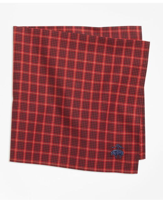 Brooks Brothers - Red Multi-check Pocket Square for Men - Lyst