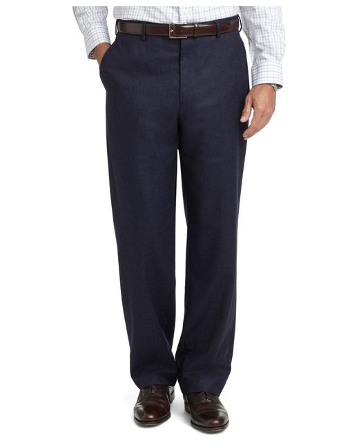 Brooks Brothers | Blue Madison Fit Plain-front Flannel Trousers for Men | Lyst