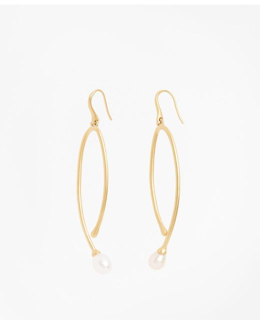 Brooks Brothers - Metallic Freshwater Pearl Gold-plated Long Drop Earrings - Lyst