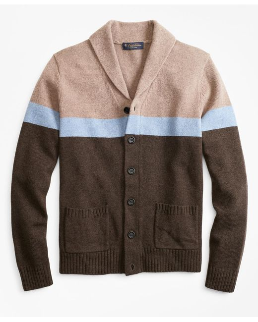 Brooks Brothers - Brown Merino Wool Color-block Shawl Collar Cardigan for Men - Lyst