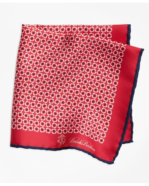 Brooks Brothers - Red Flower Medallion Pocket Square for Men - Lyst